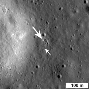 China's Chang'e 3 lander is denoted by the large white arrow, the Yutu rover by the small white arrow. Credit: NASA/LROC/ASU