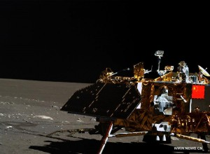 One of two near-identical images making the rounds on Chinese news sites, apparently taken during the Yutu rover's third lunar day. Credit: SASTIND