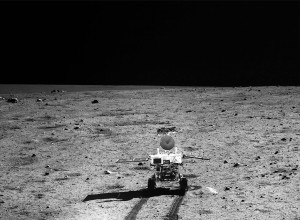 Earlier image taken from Chang'e 3 lander shows Yutu rover on the roll, alive and well. Credit: Chinese Academy of Sciences