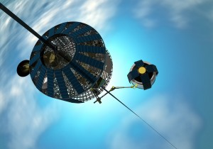 Climber makes it way up lengthy space elevator.  Credit: Frank Chase/Chase Design Studios