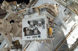 The Robotic Refueling Mission (RRM) module on the International Space Station, as seen in this 2011 photo. The RRM is an International Space Station demonstration that proves the tools, technologies and techniques to refuel and repair satellites in orbit - especially satellites not designed to be serviced.  Credit: NASA