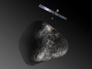Artist's impression of the Rosetta spacecraft at its destination, Comet 67P/Churyumov-Gerasimenko. The picture is not to scale; the spacecraft's solar arrays have a span of 32 meters; the diameter of the nucleus is about four kilometers.  Credit: ESA–C. Carreau/ATG medialab.