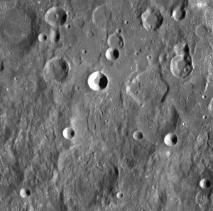 NASA mooncraft may have crashed into rim of the far side crater, Sundmam V. Upper center in image.  Credit: USGS