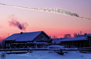 Chelyabinsk sky rendering is a reconstruction of the asteroid that exploded over Chelyabinsk, Russia on Feb. 15, 2013. Scientific study of the airburst has provided information about the origin, trajectory and power of the explosion. This simulation of the Chelyabinsk meteor explosion by Mark Boslough was rendered by Brad Carvey using the CTH code on Sandia National Laboratories' Red Sky supercomputer. Andrea Carvey composited the wireframe tail. Photo by Olga Kruglova. Credit: Sandia National Laboratories.