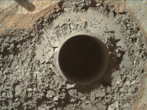 Hole produced by the Curiosity rover's drill. Image Credit: NASA/JPL-Caltech/MSSS