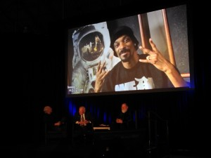 Wings Over the Rockies Air & Space Museum gala event. Left to right: Andy Aldrin, Buzz Aldrin, Leonard David. Part of our presentation included the Making of the Rocket Experience video.  Credit: Barbara David