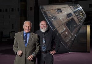 Buzz Aldrin and Leonard David stand in front of Apollo 11 spaceship at National Air and Space Museum in Washington, D.C. Photo Credit: Eric Long/NASM