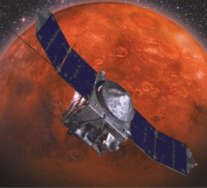 NASA's newest Mars probe – the en route Mars Atmosphere and Volatile Evolution spacecraft, or MAVEN – faces a close encounter with comet particles. Courtesy: Lockheed Martin