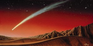 Comet flyby of Mars in October should offer a spectacular view from the Martian surface.  Credit: Kim Poor