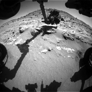 Curiosity arm stretches out for drilling sequence. Front Hazard Avoidance Camera (Front Hazcam) image for Sol 615 Credit: NASA/JPL