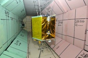 The DebriSat, a non-functional, full-scale representation of a modern satellite, is shown in a target tank. Spacecraft was purposely destroyed to gather new data on the effects of collisions between satellites and human-made space clutter. Credit: U.S. Air Force photo/Jacqueline Cowan
