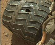 Wheel damage shown in this Mast Camera (Mastcam) image. Credit: MSSS-MALIN