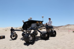 Desert double on Earth, Scarecrow, has a full-size version of Curiosity's wheels and other driving equipment. Engineers use it to test drive on different types of terrain.  Credit: NASA/JPL-Caltech