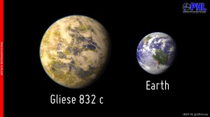 Artistic representation of the potentially habitable exoplanet Gliese 832 c as compared with Earth. Gliese 832 c is represented here as a temperate world covered in clouds. The relative size of the planet in the figure assumes a rocky composition but could be larger - an ice/gas composition.  Credit: PHL @ UPR Arecibo