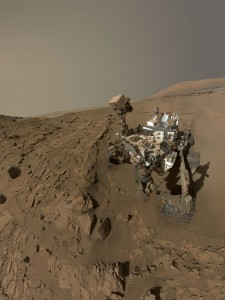 "Curiosity self-portrait at ""Windjana"" drilling site. The Mars rover used the camera at the end of its arm in April and May 2014 to take dozens of component images combined into this space-based selfie. Credit: NASA/JPL-Caltech/MSSS"