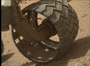Wheel damage is shown on NASA's Mars rover Curiosity. Image was acquired on June 22 using its Mars Hand Lens Imager (MAHLI), located on the turret at the end of the rover's robotic arm. Credit: NASA/JPL-Caltech/Malin Space Science Systems
