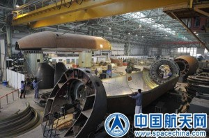 Fabrication of China's CZ-7 booster is progressing. Credit: CASC
