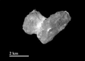 The nucleus of comet 67P/Churyumov-Gerasimernko as seen from a distance of 1950 kilometers on July 29th, 2014.  One pixel corresponds to approximately 37 meters. The bright neck region between the comet's head and body is becoming more and more distinct. Credit:  ESA/Rosetta/MPS for OSIRIS Team MPS/UPD/LAM/IAA/SSO/INTA/UPM/DASP/IDA