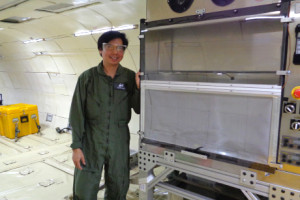 Postdoctoral research associate Apollo Arquiza shows what the galley (kitchen) looks like in the zero gravity G-Force 1 space simulator plane. Courtesy: Cornell