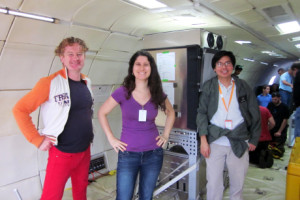 From left, Cornell researcher Bryan Caldwell, Makel Engineering researcher Susana Carranza and Cornell researcher Apollo Arquiza conduct low gravity cooking experiments aboard the G-Force 1 space simulator plane. Courtesy: Cornell