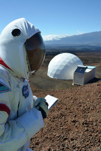 What's on the menu for Mars? Outside the HI-SEAS (Hawaii Space Exploration Analog and Simulation) mission on the slopes of Hawaii's Mauna Loa volcano. Cornell and the University of Hawaii at Manoa have been engaged in defining food needs for space travelers, a project funded by NASA's Human Research Program. Credit: Sian Proctor