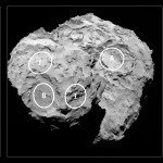Candidate landing sites on comet nucleus. Credits: ESA/Rosetta/MPS for OSIRIS Team MPS/UPD/LAM/IAA/SSO/INTA/UPM/DASP/IDA