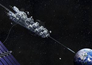 A longing look at one space elevator design. Credit: Obayashi Corporation of Tokyo, Japan.