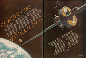 Early space elevator story in August 1979 issue of Future Life magazine. Art by David Egge. Courtesy: Robin Snelson