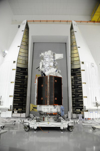 DigitalGlobe's WorldView-3, built by Ball Aerospace, being encapsulated in nose cone shrouds prior to launch atop an Atlas V 401 booster. Courtesy: Ball Aerospace