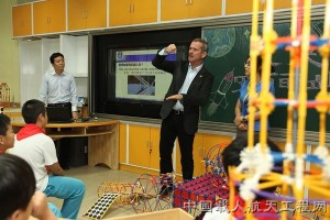 Canadian astronaut Chris Hadfield discusses essentials of space engineering to Chinese students. Credit: CMSE