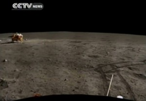 Scene from CCTV broadcast of China's moon rover and its panoramic survey of the Moon. Credit: CCTV