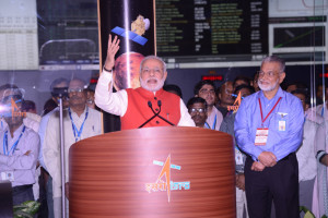 Prime Minister of India, Narendra Modi, was present at ISRO's Telemetry, Tracking and Command Network in Bangalore to witness the country's MOM spacecraft braking into Mars orbit. ISRO Chairman, K. Radhakrishnan, looks on. Credit: ISRO