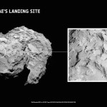 Site J is located on the head of Comet 67P/Churyumov–Gerasimenko. An inset showing a close up of the landing site is also shown.  The primary landing site was chosen from five candidates during the Landing Site Selection Group meeting held on September 13-14, 2014. Credits: ESA/Rosetta/MPS for OSIRIS Team MPS/UPD/LAM/IAA/SSO/INTA/UPM/DASP/IDA