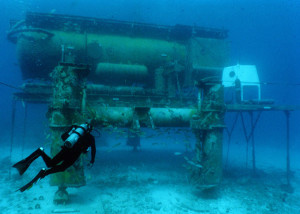 The Aquarius underwater habitat and laboratory.  (Credit: NOAA's Undersea Research Center at the University of North Carolina Wilmington)