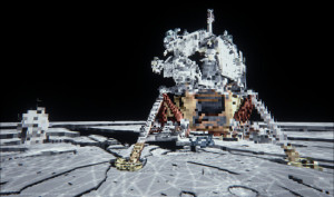 Using Voxel-Based Global Illumination, the Apollo 11 landing site was analyzed, determining the way light bounces from one object to another in real time. Credit: NVIDIA