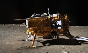 Image of China's Chang'e 3 lunar lander taken by Yutu rover. Equipment on the stationary lander continues to operate after landing on the Moon in December of 2013. Credit: Chinese Academy of Sciences