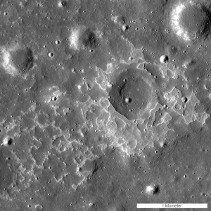 One of many newly-discovered young volcanic deposits on the Moon (4.330°N, 33.750°E), this example is near the crater Maskelyne. The direction of sunlight is from the right and north is up. Credit: NASA/GSFC/Arizona State University
