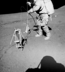 Apollo 15 astronaut Dave Scott deploying heat flow probe. Credit: NASA