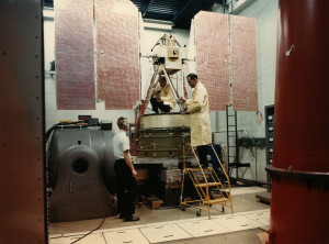 An early Nimbus satellite undergoes vibration testing at NASA's Goddard Space Flight Center in Greenbelt, Maryland, circa 1967. Image Credit:  NASA's Goddard Space Flight Center