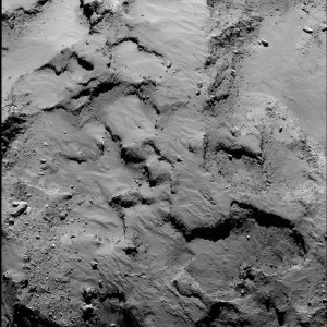 Philae's primary landing site from about 30 kilometers distance. Close-up of the region containing Philae's primary landing site J, which is located on the 'head' of Comet 67P/Churyumov–Gerasimenko. The image was taken by Rosetta's OSIRIS narrow-angle camera. Credits: ESA/Rosetta/MPS for OSIRIS Team MPS/UPD/LAM/IAA/SSO/INTA/UPM/DASP/IDA