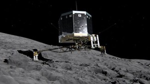 Philae lander makes historic landing. Credit: ESA