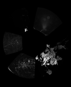 Rosetta's lander Philae has returned the first panoramic image from the surface of a comet. The view, unprocessed, as it has been captured by the CIVA-P imaging system, shows a 360º view around the point of final touchdown. The three feet of Philae's landing gear can be seen in some of the frames. Confirmation of Philae's touchdown on the surface of Comet 67P/Churyumov–Gerasimenko arrived on Earth at 16:03 GMT/17:03 CET on 12 November. Credits: ESA/Rosetta/Philae/CIVA