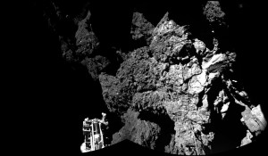 Two-part image taken by Philae comet lander. Photo shows Philae safely on the surface - with one of its landing legs visible. Credit: ESA/Rosetta/Philae/CIVA