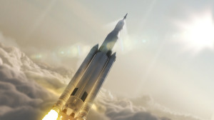 Artist concept of NASA's Space Launch System (SLS) 70-metric-ton configuration launching to space. SLS will be the most powerful rocket ever built for deep space missions, including to an asteroid and ultimately to Mars. Credit: NASA