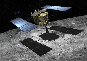 "Japan's Hayabusa2 will target ""1999 JU3"" – a C-type asteroid – for detailed study. Artwork: Akihiro Ikeshita"