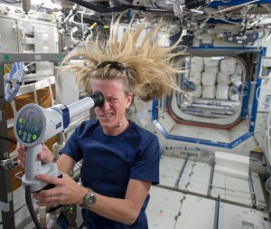 Space station astronaut Karen Nyberg uses instrument to create still and video imagery of her eye in microgravity. Credit: NASA