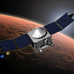 Artist's image shows NASA's MAVEN spacecraft in orbit around Mars. (Courtesy NASA/GSFC)