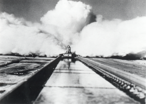 December 10, 2014 marks the 60th anniversary of Col. John P. Stapp's record-breaking experiment at the Holloman High Speed Test Track.  Credit: U.S. Air Force/Courtesy Photo