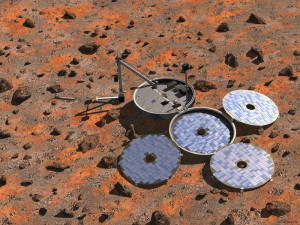 Artist's impression of Beagle-2. The first radio contact with the lander was expected shortly after the scheduled landing time...but no signal was received. Credit: ESA/Denman productions