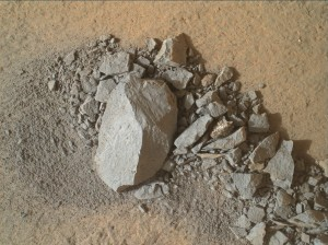Using an onboard focusing process, the Mars Hand Lens Imager (MAHLI) aboard NASA's Mars rover Curiosity created this product by merging two to eight images previously taken by the MAHLI, located on the turret at the end of the rover's robotic arm. Curiosity performed the merge on MAHLI January 16, 2015, Sol 869. Image Credit: NASA/JPL-Caltech/MSSS